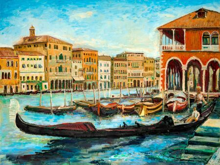 An oil painting Venetian Gondolas, famous boats waiting for tourists on Grand canal in Venice, Italy.