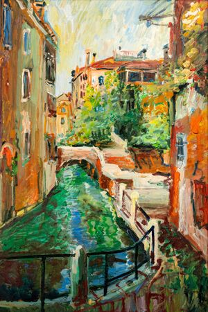 An oil painting of Venetian architecture and water canal in Venice, Italy.