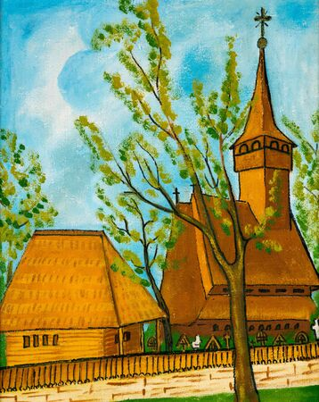 A naive oil painting on canvas depicting the wooden church of Ieud, Maramures region of Romania. Stock Photo