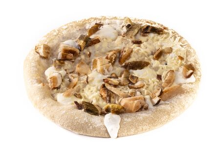 Frozen pizza isolated on a white background.