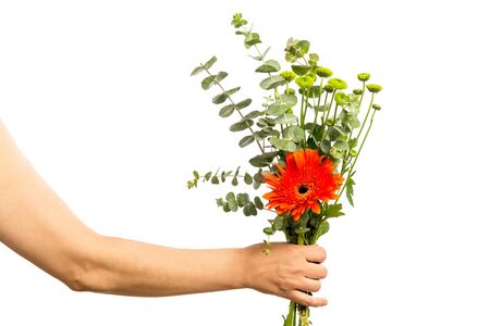 Woman hand holding a bouquet of flowers isolated on a white background. Mothers Day Concept.