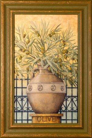 Framed decorative painting of an olive tree in a clay vase. 스톡 콘텐츠