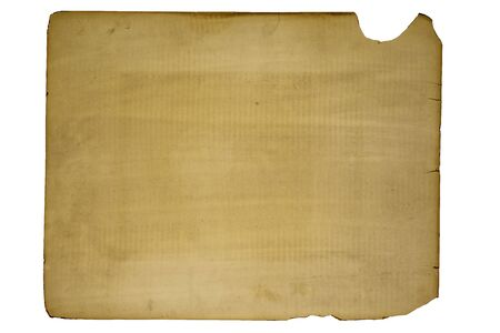 Reverse side of an old print isolated on white with clipping path at ALL sizes.