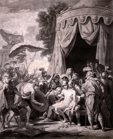 The Death of Epaminondas vintage 17th century engraving by Valentine Green after painting by Benjamin West. 에디토리얼