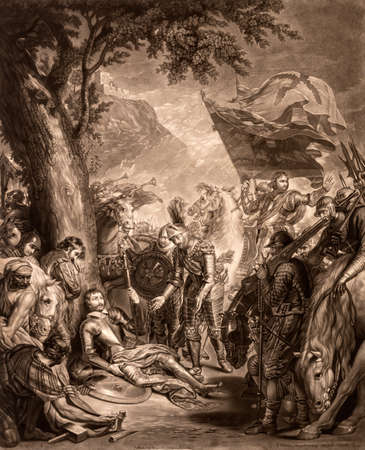The Death of Chevalier Bayard vintage 17th century engraving by Valentine Green after painting by Benjamin West.