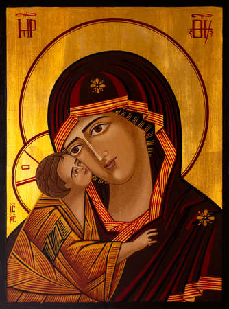 Icon painted in the byzantine or orthodox style depicting Virgin Mary and Jesus.