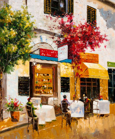 An impressionist oil painting depicting a street cafe where people rest together and eat.
