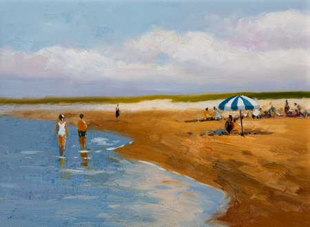 An impressionist oil painting depicting a sunny day at the beach.