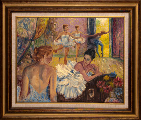 Framed oil painting representing young ballerinas dressed in tutu skirts in their studio.