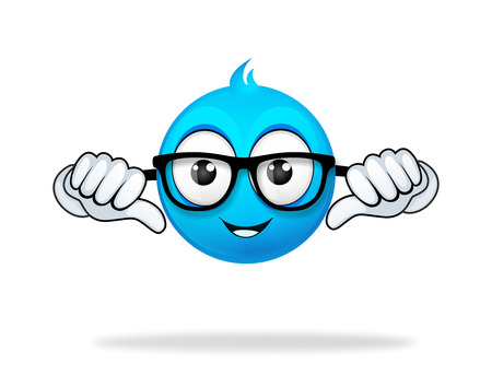 blue cartoon character thumb pose photo