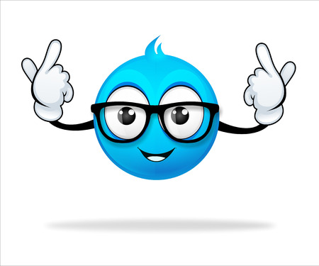 blue cartoon character pointing pose photo
