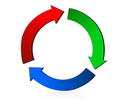 wastage: illustration of RGB recycling icon isolated