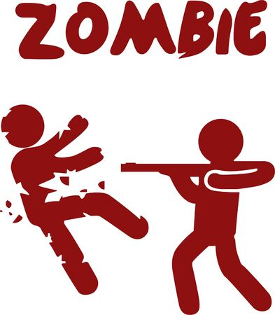 Zombie a man shoot zombie and then zombie is falling in small particles
