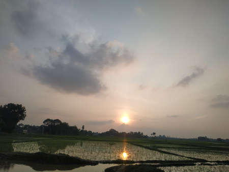 Evening sunset view stock photos. this photo is taken in india. Stockfoto
