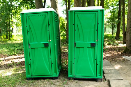 Bio toilet in the park in the summer Stock Photo