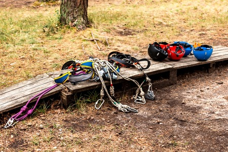 Equipment for mountaineering and rope town in the forest