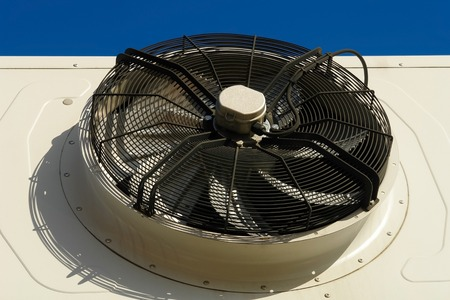 Industrial air conditioner fan close up. Large outdoor air conditioning units. Large fan Air Compressor