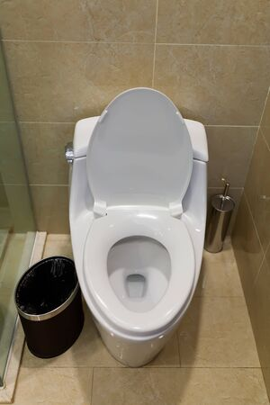Toilet design with built-in toilet. Built-in toilet is made as an installation, all the elements, except for the toilet are hidden behind the tiles in the wall. Stockfoto