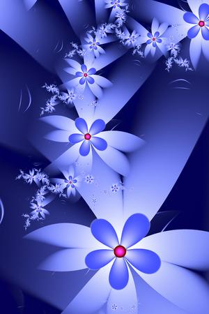 fractals: Blue Fractal Flowers Stock Photo