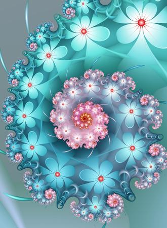 Teal Flower Fractal Фото со стока