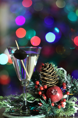 martini cocktail with christmas decorations Stock Photo