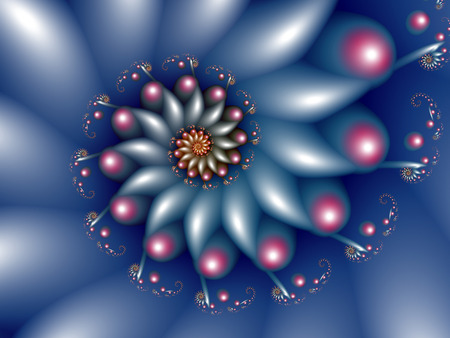 blue abstract spiral fractal Stock Photo