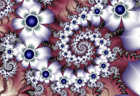 azul marino: flores blancas con los centros fractal azul marino
