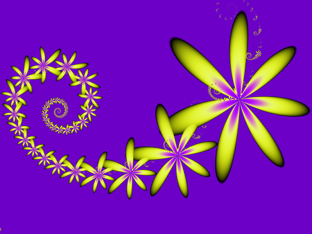 yellow fractal flowers on a purple background