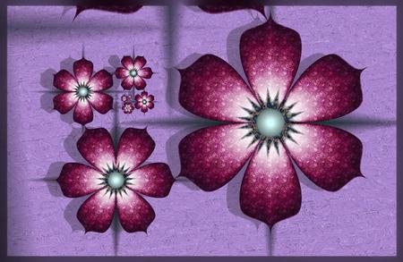 purple fractal flowers Stock Photo