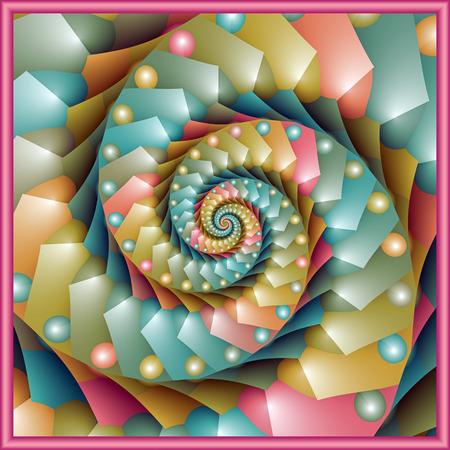 pastel spiral fractal design Stock Photo