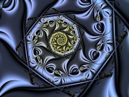 curl whirlpool: Blue Heart Spiral Stock Photo