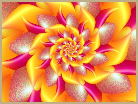 Orange Shiny Spiral Flower Stock Photo