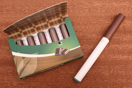 Chocolate flavoured e-cigarette cartridges Stock Photo