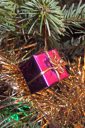 Present decoration on a Christmas tree