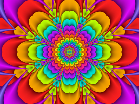 Colourful Concentric Rainbow Flower