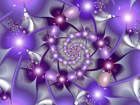 Abstract purple fractal flower spinning design Stockfoto