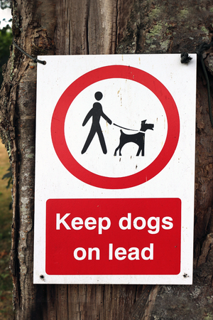 A sign in a park saying to keep dogs on a lead Banque d'images - 107740444