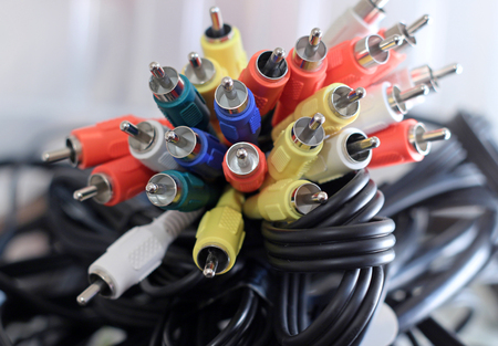Audio Visual or Audio Video Cables Banque d'images