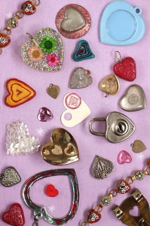 A Valentines Themed Background With Various Heart Shaped Objects Reklamní fotografie