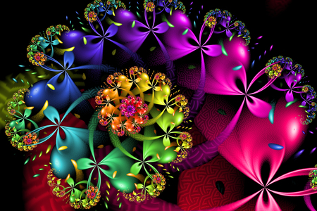 Rainbow Flowers, Ribbons and Bows Spiral Pattern 版權商用圖片