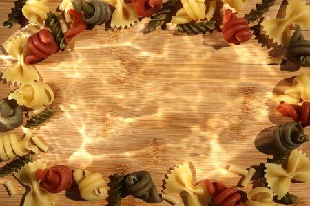 Pasta Frame. Trottole,Fusilli, Farfalle dried pasta background border