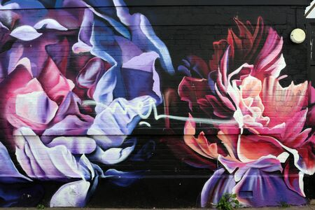 10th September 2019. Brighton, East Sussex, England. Abstract Floral Graffiti