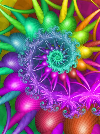 Rainbow Coloured Spiralling Floral Abstract Fractal Pattern