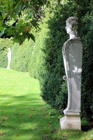 Mottisfont Abbey, Hampshire, England. 2nd October 2019. Statues of Hermes in the grounds of Mottisfont Abbey, Hampshire, England
