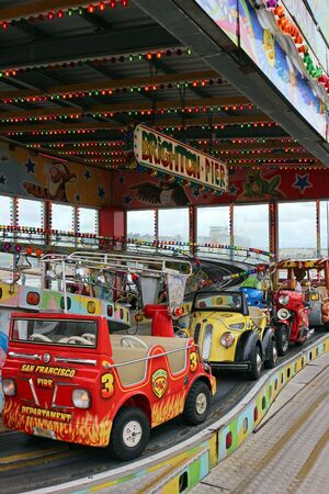Brighton, East Sussex, England. 9th September 2019. Children's Fairground Rides at Brighton Palace Pier. Фото со стока - 135344381