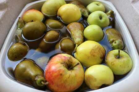Freshly picked apples and pears in a bowl of water Stockfoto