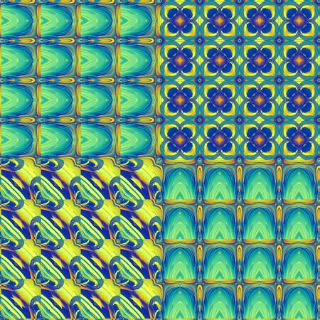 Yellow and Blue Abstract Fractal Tiles Pattern Stockfoto