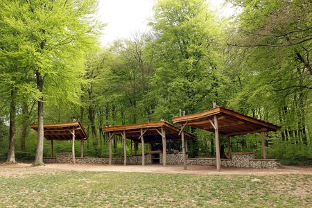 The covered outdoor pizza oven area at Queen Elizabeth Country Park, Hampshire, Uk