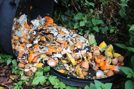 A fallen compost bin revealing rotting food waste