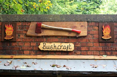 A bushcraft sign. A place to learn woodland skills